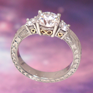 ring antique style 3 filigree engagement ring